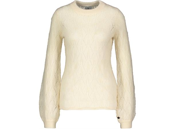 Coco Sweater Cream Melange S Mohair leaf knit r neck Urban